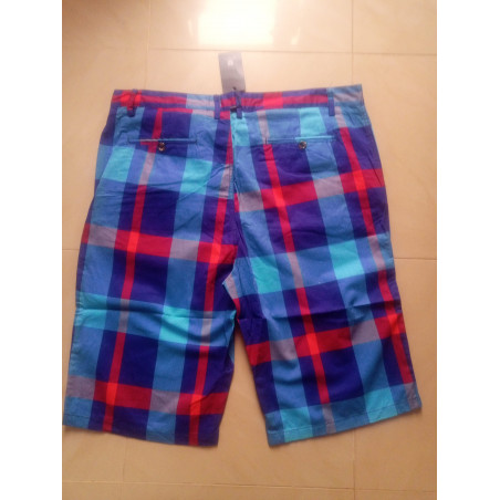 Multicoloured - Checkered Shorts - Light Blue