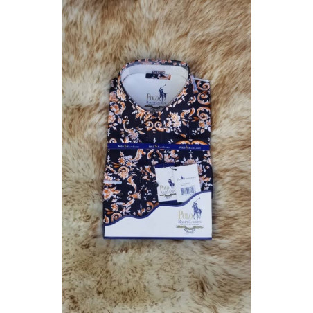 Flora Print Long Sleeve Shirt - Gold blue